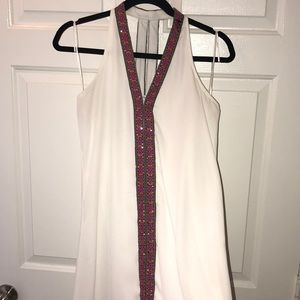 Alya White Cocktail Dress with Multicolored Detail